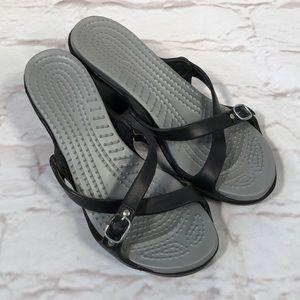 Crocs heels! Size 8. Strappy black & gray